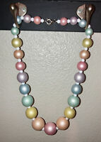 "Vtg 80's Pastel Faux Pearl Retro Necklace Vintage Large Easter Collar 18"" Beaded"