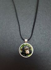 "Chimpanzee Pendant On a 18"" Black Cord Necklace Ideal Birthday Gift N112"