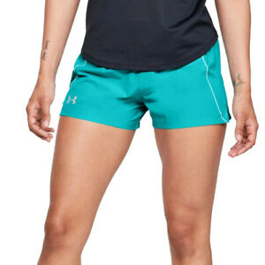 Under Armour UA HeatGear Qualifier Speedpocket Blue Ladies Running Shorts