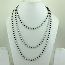 NECKLACE NATURAL BLUE SAPPHIRE FACETED BEADS GEMSTONE 17GM. 925 STERLING SILVER