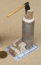 1:12 Scale Wood Chopping Block Logs & Axe On A Base Dolls House Garden Accessory