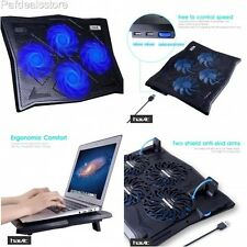 Cooling Pad For 17 Inch Laptop USB Hub Gaming Fans Blue LED Light Stand Mat