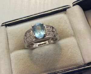 Beautiful Ladies Fully Hallmarked Solid 9 Carat White Gold Blue Topaz Ring