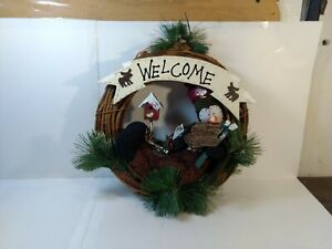 Snowman Welcome Wreath Holiday Christmas Decoration ch1758