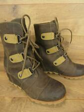 Sorel Joan Of Arctic Brown Wedge Leather Womens Boots Size 7.5