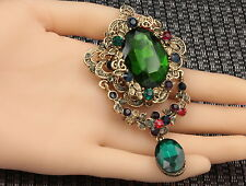 Victorian emerald green crystal Bouquet brooch pin Birthday gift party dress H09