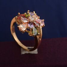 Multi-color Multi-Gemstone 18k Yellow Gold Filled Women Wedding Ring Size 7.5#