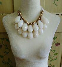 Large Teardrop Tie Back Statement Necklace Off White & Gold Adjustable Length