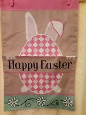 "New listing Happy Easter Bunny Rabbit Ears & Egg Burlap Garden Flag 12"" X 18"". New"