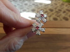 BRAND NEW 18K WHITE  GOLD FILLED RING WITH  DIAMOND AND RUBY LOOK FLOWERS SIZE O