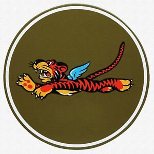flying tiger disney ww2 army  LARGE RARE PRINTED patch sew COTTON CANVAS art