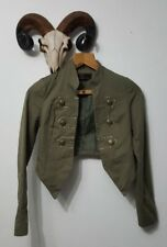 New Look Size 6 Military Khaki Green Jacket Lightweight Gold Buttons Cropped