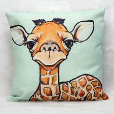 "Giraffe 18"" Linen Vintage Throw Cushion Cover Pillow Case Waist Home Sofa Decor"