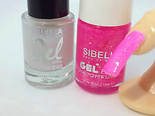 Gel Smalto Unghie Fluo Fucsia Glitter + Top Coat Semipermanente No UV