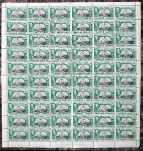 FALKLAND ISLANDS 1938 G.VI - ½d SG146 Complete Sheet of 60 Folded DG570