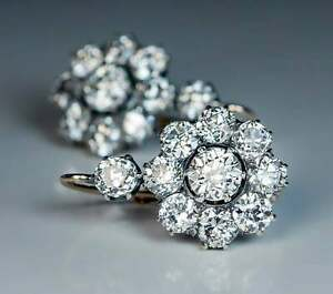 2ct Round Cut Diamond Antique Cluster Drop/Dangle Earrings 14k White Gold Finish