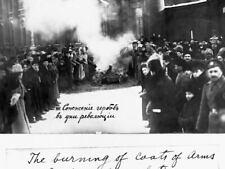 G6743 Burning Romanov Coats Arms Petrograd 1917 Vintage Laminated Poster DE