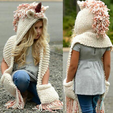 Unicorn Winter Pink Hat Hooded Scarf Earflap Knitted Cap Xmas Gift Kids/Boy/Girl