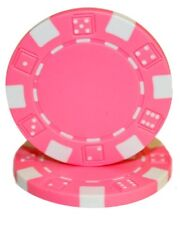 25 Pink Striped Dice 11.5g Clay Poker Chips New - Buy 2, Get 1 Free