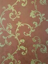Baroque Floral Trail Wallpaper Red Gold Embossed Textured Vinyl Christiana Masi