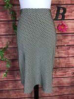Banana Republic Skirt size 8 Olive Black Silk Circles Bias Knee A Line Modest