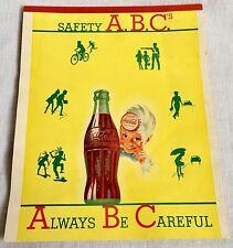 Vintage 1949 Coca Cola Safety ABC's Paper Tablet Unused