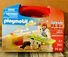 NEW PLAYMOBIL CITY LIFE VET VISIT CARRY CASE #5653 39 PC VET, CAT, 2 DOGS & MORE