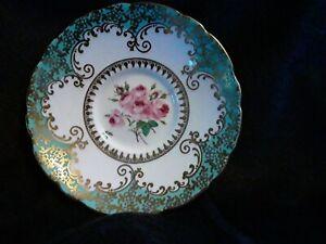 Vintage Royal Stafford England Turquoise Gold Filigree & Trim Pink Roses Saucer