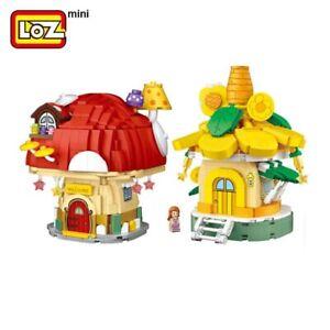 2pcs LOZ mini blocks Kids Building Toys Puzzle Mushroom Sunflower House no box