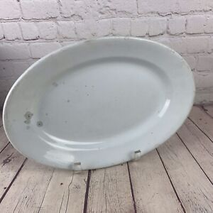 White Ironstone Oval Serving Platter Shabby Chic Kitchen Platter Ironstone KT/&K Co Raised Lacey Edge Platter with Dainty Pink Flowers