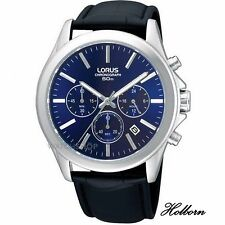 Lorus Gents Watch Blue Dial Stainless Steel Chronograph RT389AX9. 2 Yr Warranty.