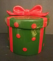 Cake Boss Christmas Ceramic Cookie Jar Green Red Bow signed Buddy Valastro 2013