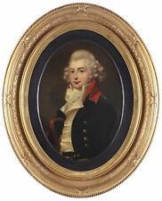 Antique 18th Century Oil Painting Portrait of a Naval Maritime Military Captain