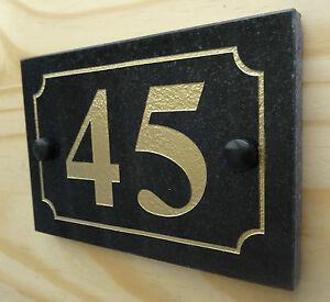 Deep Engraved Natural Black Granite House Number Sign Plaque HIGH QUALITY
