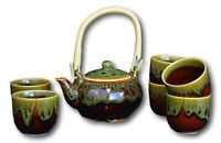7 Pcs Premium Color Glaze Porcelain Tea Set Teaset Fine Tea Pot Tea Coffee Cups