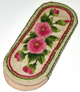 "VTG 6.5x3"" pink/green flower floral embroidered glasses EYEGLASS CASE sleeve EUC"