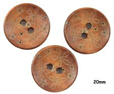 10 Coffee Brown Flower Engraved Wood Buttons 20mm, Sewing, Crafts - BU1170