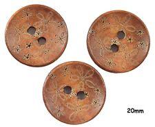 10 café marron fleur gravé bois boutons 20mm, couture, artisanat-BU1170