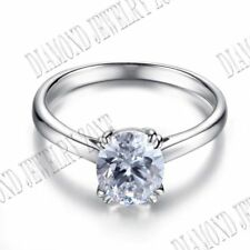 Sterling Silver Prong Setting 10x8mm 4.6ct Flawless Cubic Zirconia Wedding Ring