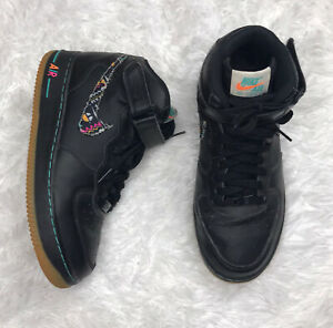 Nike Air Force One 1 Mid Shoes Size 7Y / Womens 8.5 Black Teal Pink 314195-042