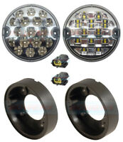 95mm LAND ROVER DEFENDER LED CLEAR REAR FOG / REVERSE LAMP LIGHT UPGRADE KIT NAS