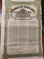 Costa Rica 1911 Republic 20 Pounds Coupons NOT CANCELLED Bond Waterlow Sons