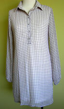 Ladies Long Sleeve Pink & Grey Check Chiffon Shift Shirt Dress Boohoo Size 10