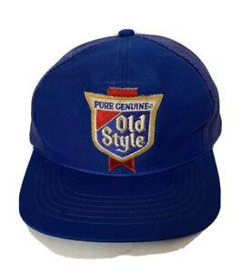 Old Style Beer Trucker Hat Baseball Cap Mesh Snapback Men OSFA Cub Blue Vintage