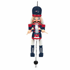 New England Patriots Christmas Tree Holiday Ornament Pull String Wood Nutcracker