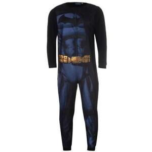 Mens BATMAN Fleece All-in-One Sleepsuit, Pyjamas, Romper - Size Extra Large