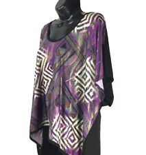 Pinkeli Women's Plus Size 2X Hi-Lo Kimono Sleeve Aztec Ikat Top Gold Feathers