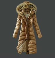 Europe Winter Hooded Down Padded Coat Womens Puffer Parka Fur Collar Long Jacket