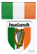LOT of 2 IRELAND FLAG PATCH IRISH EMBROIDERED IRON-ON EIRE REPUBLIC HARP SHIELD