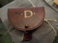 """pottery barn saddle leather earphone case monogrammed """"D"""" New"""